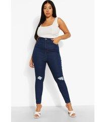 plus versleten skinny jeans met hoge taille, indigo
