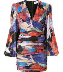 rebecca vallance belladonna abstract-print ruched mini dress -