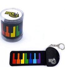 llavero micro piano flexible rock and roll it - arcoíris negro regalos clicker