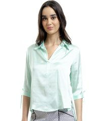 camisa 101 resort wear polo cetim liso verde agua