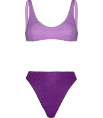oséree lurex two-tone bikini set - purple
