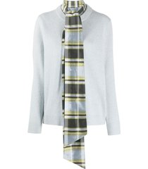 tory burch scarf and long-sleeve jumper combo - blue