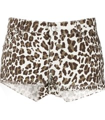 p.a.r.o.s.h. animal print shorts - brown