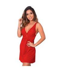 1 camisola renda sensual linha noite lingerie feminina vermelho