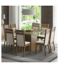 conjunto sala de jantar madesa louise mesa tampo de vidro com 8 cadeiras rustic/crema/pérola