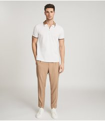 reiss bristol - pleat front trousers in camel, mens, size 38