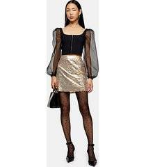 gold sequin mini skirt - gold