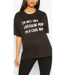 zwangerschap 'not a regular fit mom' t-shirt, zwart