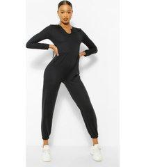 loopback sweatstof jumpsuit met halsinkeping en lange mouwen, zwart