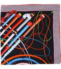 hermes fouets et badines 140cm black multicolor cashmere silk scarf black/multicolor sz: 140