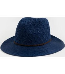 amberlie diamond stitch panama hat - navy