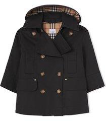burberry black cotton coat
