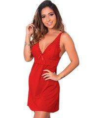 1 camisola renda sensual linha noite lingerie feminina vermelho - vermelho - feminino - dafiti
