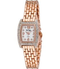 bob mackie women's pink alloy bracelet panther link square stone bezel watch, 23mm