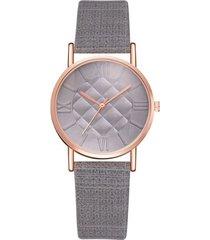 reloj mujer pulso cuero pu cuarzo casual 987 gris