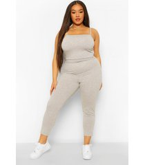 plus jersey strappy jumpsuit, grey