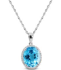 "blue topaz (3-3/4 ct. t.w.) & diamond (1/10 ct. t.w.) 18"" pendant necklace"