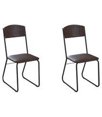 conjunto com 2 cadeiras byron tabaco e preto
