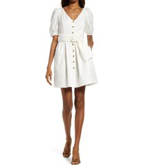 french connection besima belted cotton poplin dress, size 2 in summer white at nordstrom