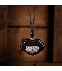 gioielli etnici fatti a mano in argento antico fiore legno collane ciondolo retrò regolabili lunghe collane