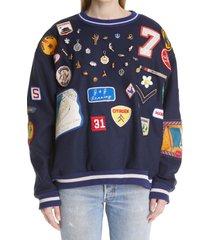 women's bode one of a kind charm sweatshirt, size medium/large - blue