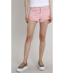 short de sarja feminino boy com rasgos rosa