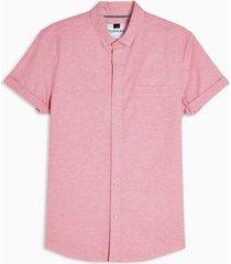 mens pink wash stretch skinny oxford shirt