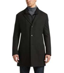 calvin klein black slim fit car coat