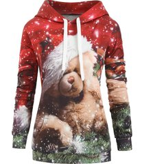 bear graphic front pocket christmas longline hoodie