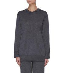'empire' side slit wool hoodie