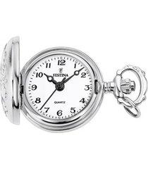 reloj bolsillo plateado festina