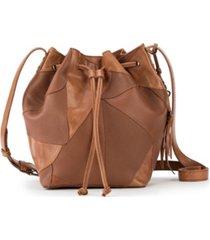the sak women's upcycled leather drawstring bag