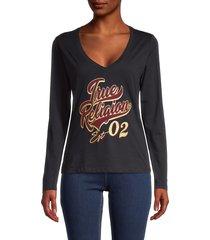 true religion women's metallic logo v-neck top - black - size m