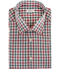 man regular fit white shirt with red and green checks