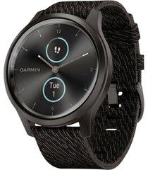 garmin vivomove style black pepper nylon strap touchscreen hybrid smart watch 42mm