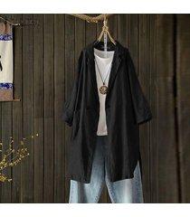 zanzea plus s-5xl camisa de solapa de manga larga para mujer tops camisa casual blusa lisa suelta -negro