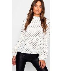 blouse met stippen en doorschijnende ballonmouwen, wit