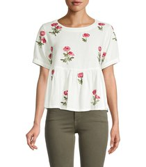 lucca women's embroidered peplum top - white rose - size xs