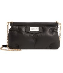 maison margiela glam slam plush leather clutch - black