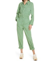 madewell women's garment dyed relaxed coverall jumpsuit, size xx-small in pale evergreen at nordstrom
