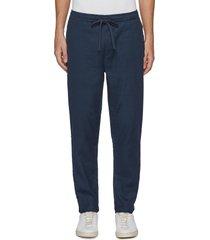 carlton' drawstring waist cotton linen stretch pants