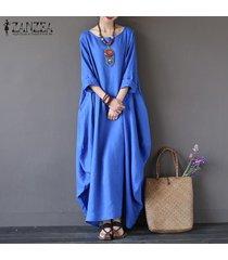 zanzea para mujer cuello redondo vestido de la camisa 3/4 manga del batwing holgado largo maxi casual del partido kaftan sólido tamaño del traje vestido plus -azul