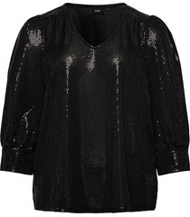blouse glitter plus v neck 3/4 length sleeves blus långärmad svart zizzi