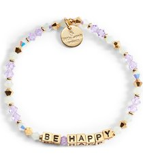 little words project be happy beaded stretch bracelet, size small in lilac multi/gold at nordstrom
