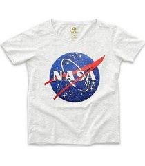 camiseta ampla geek cool tees nasa vintage feminina - feminino
