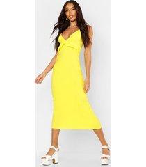 jersey v neck ruffle maxi dress, yellow