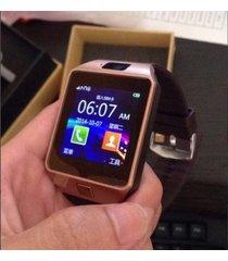 smartwatch reloj inteligente dz09 android dorado