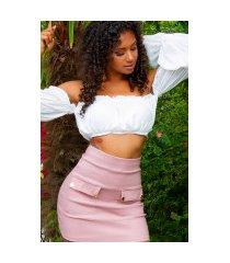 sexy hoge taille rok met zakken roze