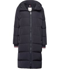 penny insulation down coat gevoerde lange jas blauw tommy hilfiger