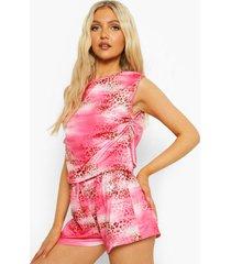 luipaardprint pyjama set met shorts en zijstrik, pink